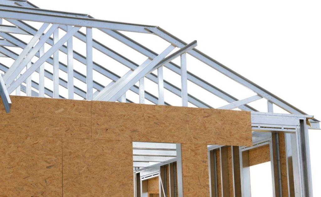 pared en construcción con steel frame
